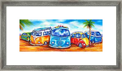 Surf Wagons Framed Print