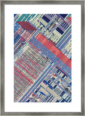 Surface Of Integrated Chip Framed Print by Michael W. Davidson