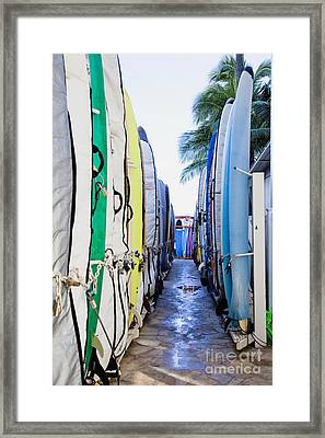 Surfboard Lockers Next To Beach Framed Print by Inti St. Clair