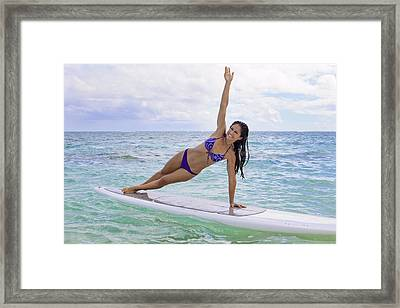 Surfboard Yoga Framed Print by Tomas del Amo - Printscapes