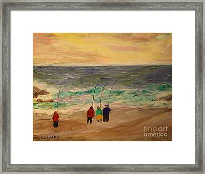 Surfcasters At Sunrise Framed Print