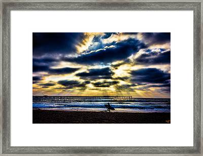 Surfer At Pacific Beach Framed Print by Chris Lord
