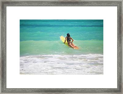Surfer Girl Paddling Out Framed Print