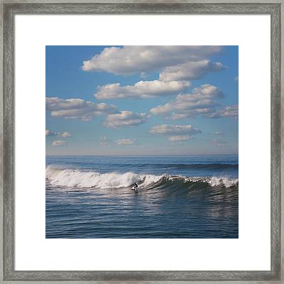 Surfer Riding Big Wave Framed Print by Maciej Toporowicz, NYC