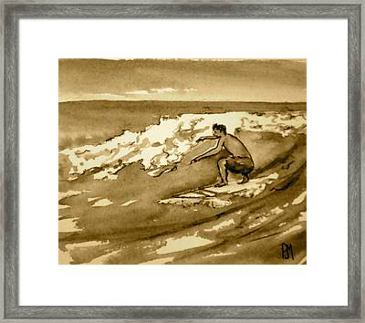 Surfer Sepia Framed Print by Pete Maier