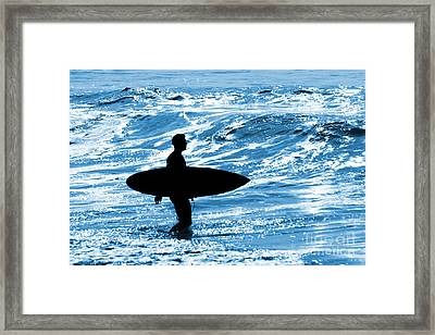 Surfer Silhouette Framed Print by Carlos Caetano
