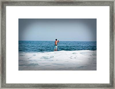 Framed Print featuring the photograph Surfer Waiting For Next Wave by Ann Murphy