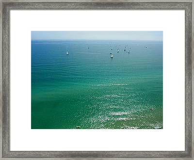 Surfers And Sailors Framed Print by Jonathan Mojica