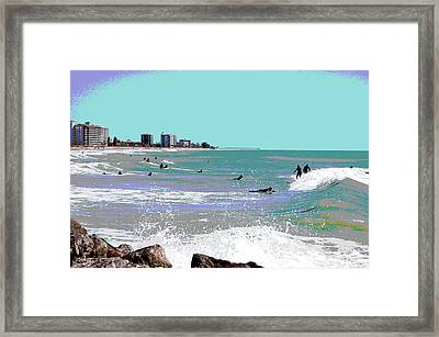 Framed Print featuring the mixed media Surfers At Venice Beach by Charles Shoup