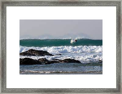 Surfing In Cornwall Framed Print by Brian Roscorla