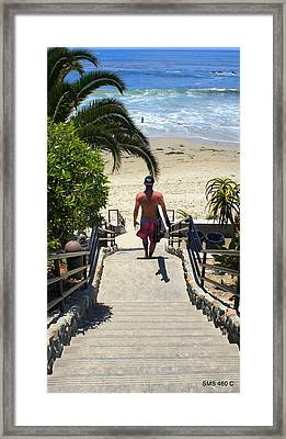 Surfing In Laguna Beach Framed Print