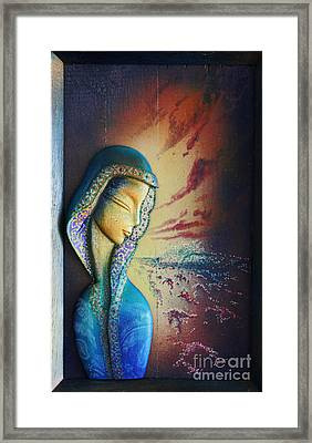Surfing Mary  Framed Print by Kauhane