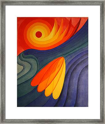 Framed Print featuring the painting Surfing Symbolism by Paul Amaranto