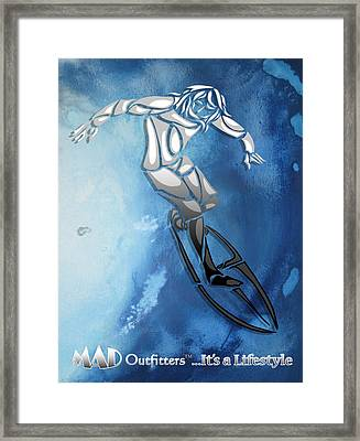Surfing The Deep Blue  Framed Print by MAD Outfitters