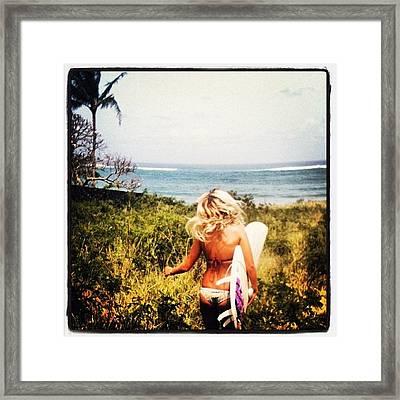 Surfing Tine... 🏄 #surfing #sun Framed Print