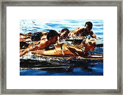 Surfing With The Boys Framed Print by Ron Regalado