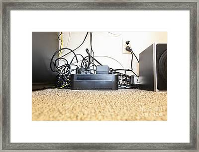 Surge Protector And Many Power Cables Framed Print by Sam Bloomberg-rissman