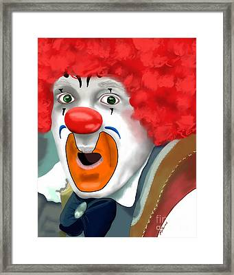 Surprised Clown Framed Print by Methune Hively