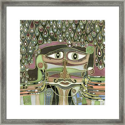 Surprize Drops Surrealistic Green Brown Face With  Liquid Drops Large Eyes Mustache  Framed Print by Rachel Hershkovitz
