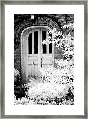 Surreal Black White Infrared Spooky Haunting Door Framed Print by Kathy Fornal