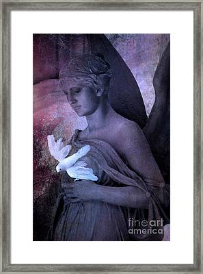 Surreal Dreamy Angel With White Dove Framed Print by Kathy Fornal