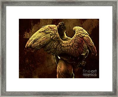 Surreal Fantasy Angel Art Wings Impressionistic   Framed Print by Kathy Fornal