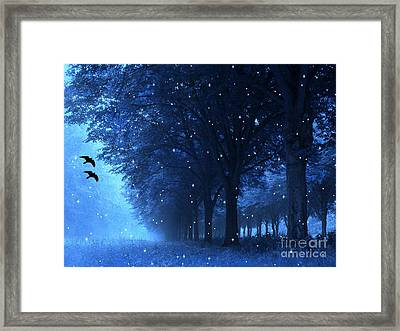 Surreal Fantasy Dreamy Blue Nature Landscape Framed Print