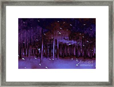 Surreal Fantasy Purple Woodlands With Birds Framed Print by Kathy Fornal
