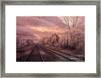 Surreal Fantasy Railroad Tracks With Birds Framed Print by Kathy Fornal