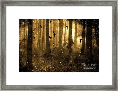 Surreal Fantasy Ravens Crows Sepia Woodlands With Stars Framed Print