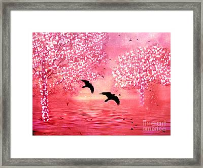 Surreal Fantasy Ravens With Shimmeringtrees Framed Print by Kathy Fornal