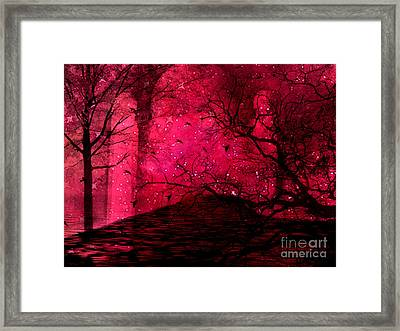 Surreal Fantasy Red Nature Trees And Birds Framed Print by Kathy Fornal