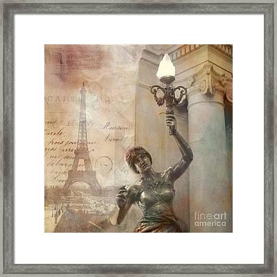 Paris Eiffel Tower Surreal Art Deco With Female Statue Street Lantern Montage  Framed Print