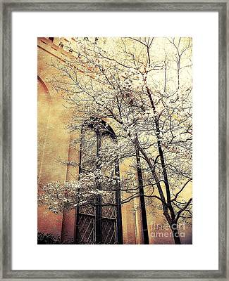 Surreal Gothic Church Window With Fall Tree Framed Print by Kathy Fornal