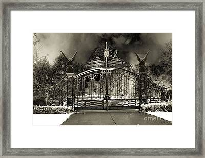 Surreal Gothic Gate And Gargoyles Stormy Haunted Sepia Nightscape Framed Print by Kathy Fornal