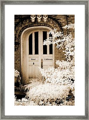 Surreal Gothic Infrared Skulls Over Door Framed Print by Kathy Fornal