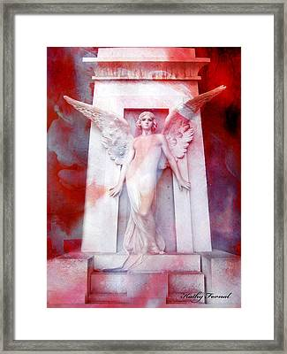 Surreal Impressionistic Red White Angel Art  Framed Print by Kathy Fornal