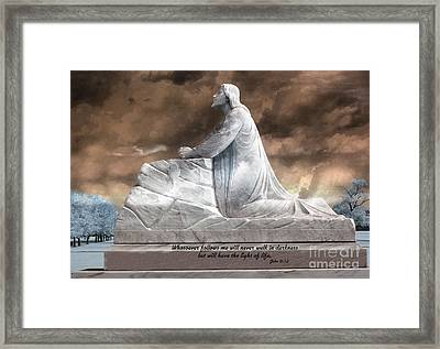 Jesus Christian Art  - Jesus Kneeling With Bible Scripture Quote Framed Print by Kathy Fornal