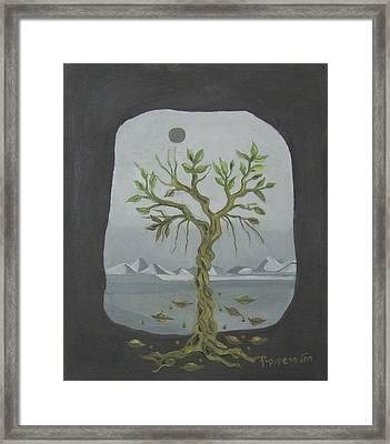 Surreal Landscape Framed  With Tree Falling Leaves Moon Mountain Sky   Framed Print by Rachel Hershkovitz