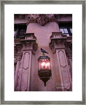 Surreal Raven Gothic Lantern On Building Framed Print by Kathy Fornal