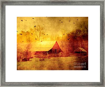 Surreal Red Yellow Barn With Ravens Landscape Framed Print by Kathy Fornal