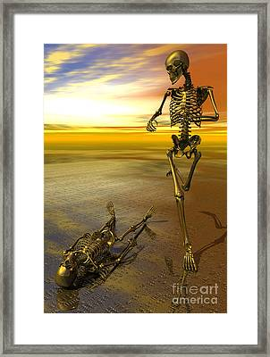 Surreal Skeleton Jogging Past Prone Skeleton With Sunset Framed Print by Nicholas Burningham
