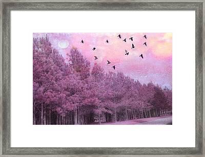 Surreal Trees Birds Pink Fantasy Nature Framed Print