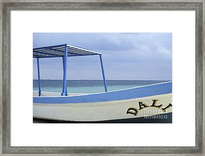 Framed Print featuring the photograph Surrealist Fishing Boat Riviera Maya Mexico by John  Mitchell
