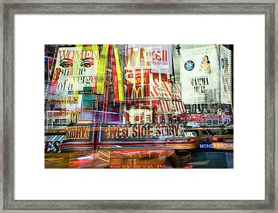 Surrounded By Times Square At Twilight Framed Print by Travelif