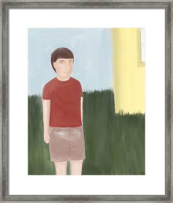 Suspicous Boy In Red Shirt Framed Print by Sarah Countiss