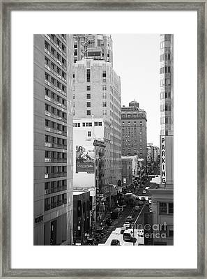 Sutter Street West View . Black And White Photograph 7d7506 Framed Print