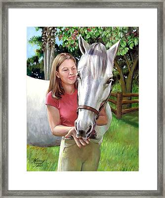 Framed Print featuring the painting Suzanne With A White Horse by Nancy Tilles