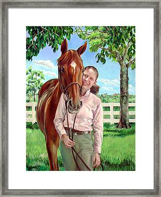 Framed Print featuring the painting Suzanne With Her Horse by Nancy Tilles