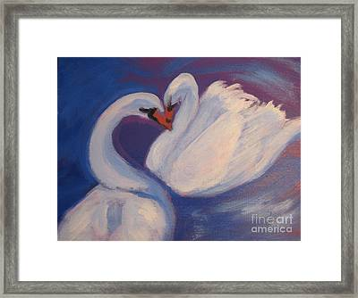 Framed Print featuring the painting Swan Kiss by Diana Riukas